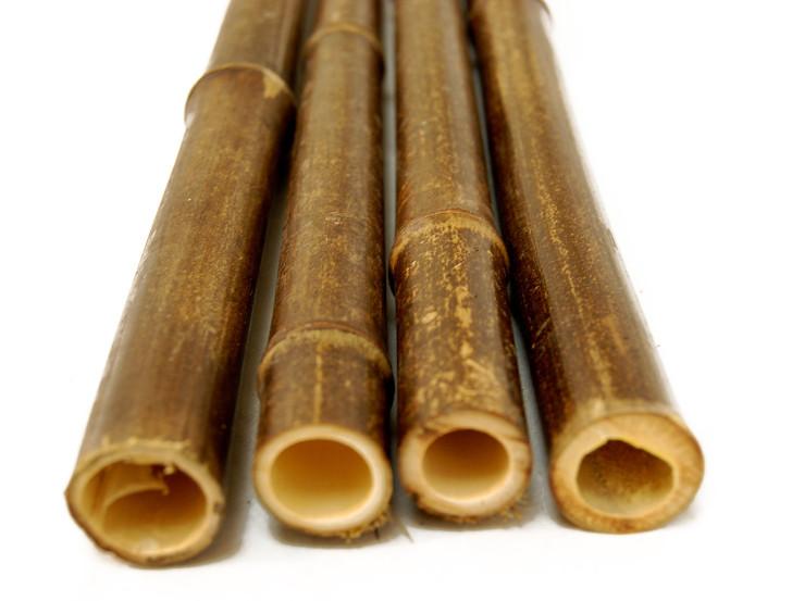 """1.25"""" x 8' Bamboo Poles Natural Black (10 Poles)"""