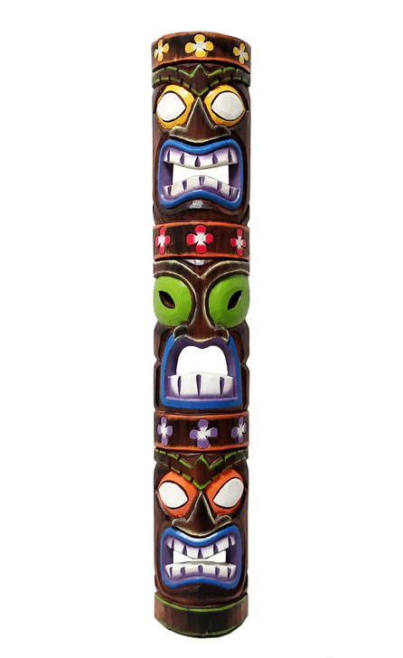 "40"" Tiki Mask - Three Face Totem- Purple"
