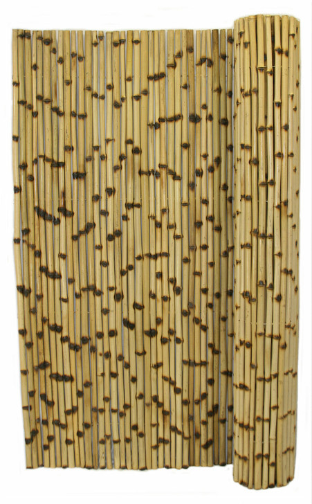 """Natural Burnt Bamboo Fence 1"""" D x 8' H x 8' L"""