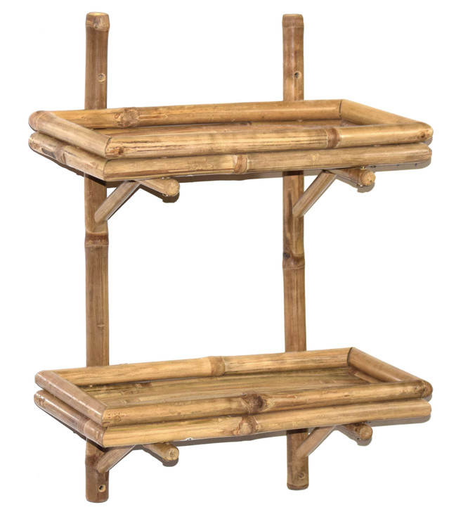 Double Bamboo Wall Shelf