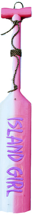 Island Girl Pink Wooden Paddle Sign