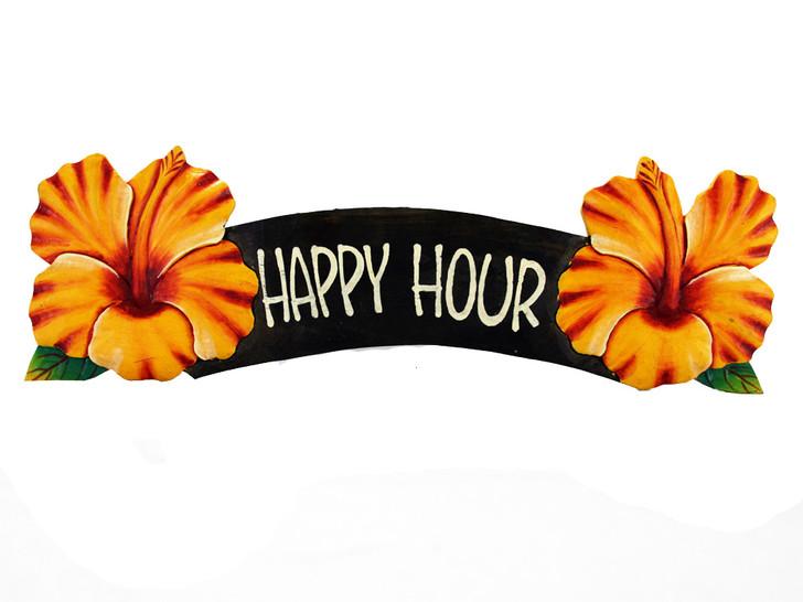Happy Hour Yellow Hibiscus Sign