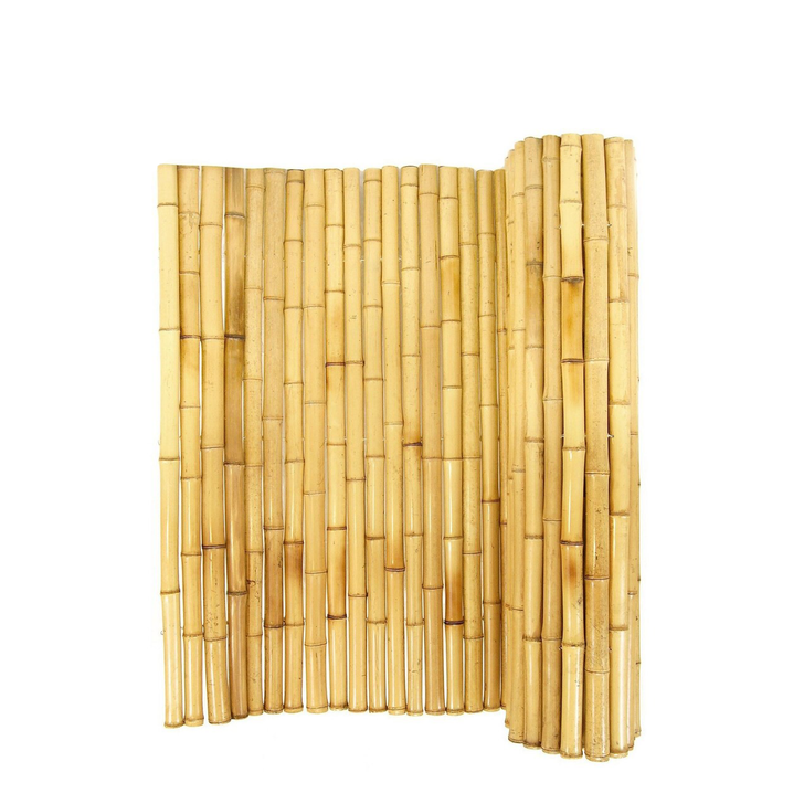 "Natural Rolled Bamboo Fence 2"" D X 6' H X 8' L"