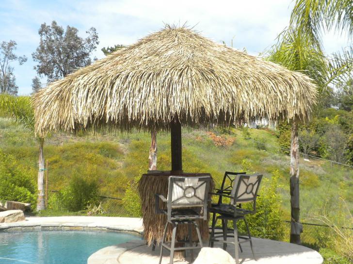 8' Single Pole Palm Thatch Umbrella