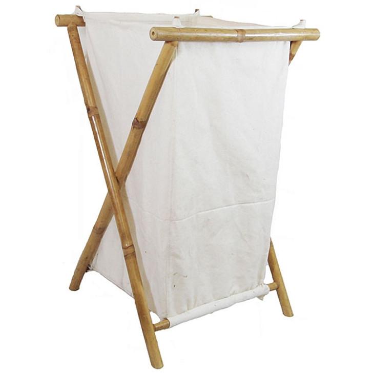 Bamboo Canvas Laundry Hamper