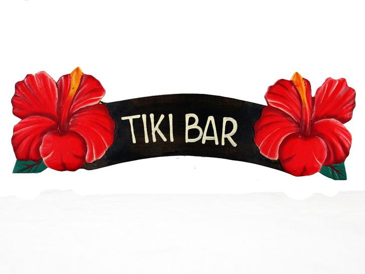 Tiki Bar Red Hibiscus Sign