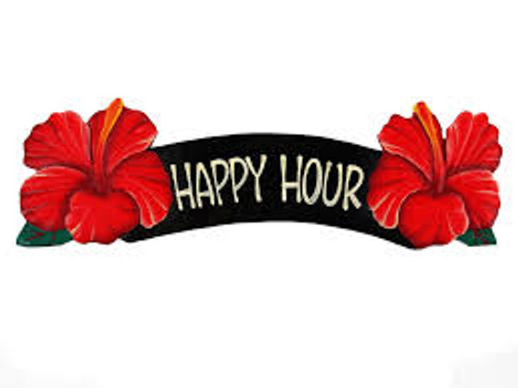 Happy Hour Red Hibiscus Sign