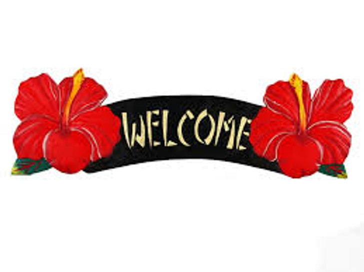 Welcome Red Hibiscus Sign