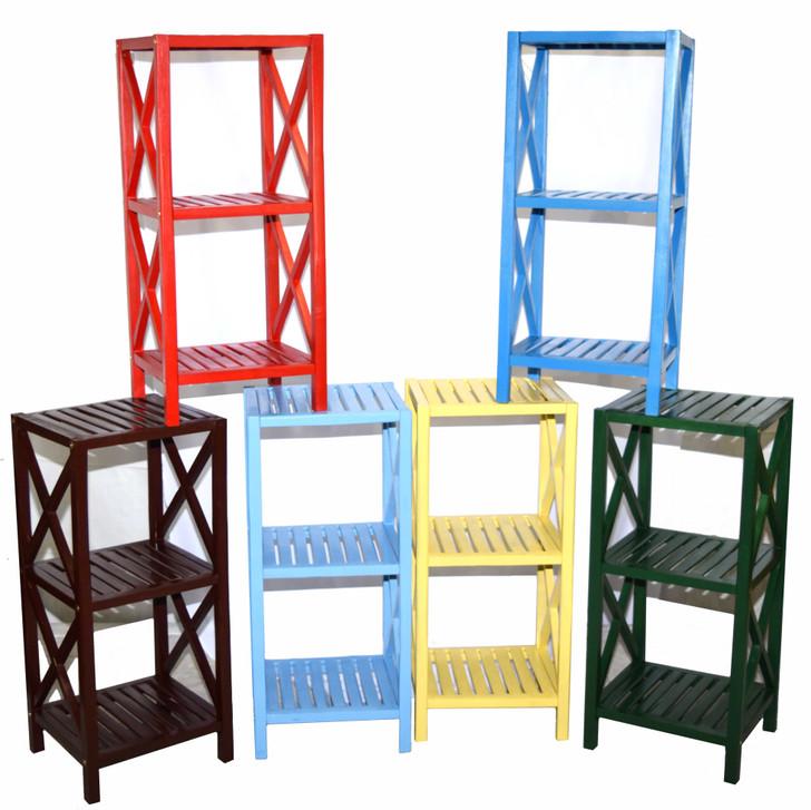 Colored 3 Tier Bamboo Bathroom Rack