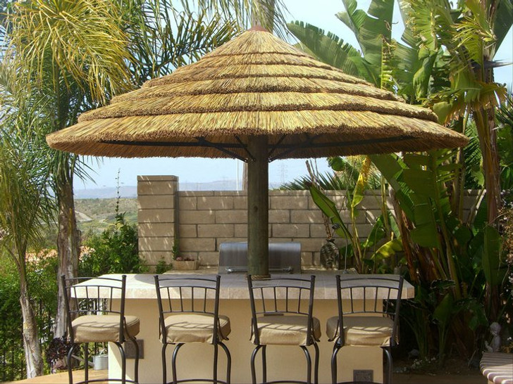 9' Single Pole African Reed Umbrella