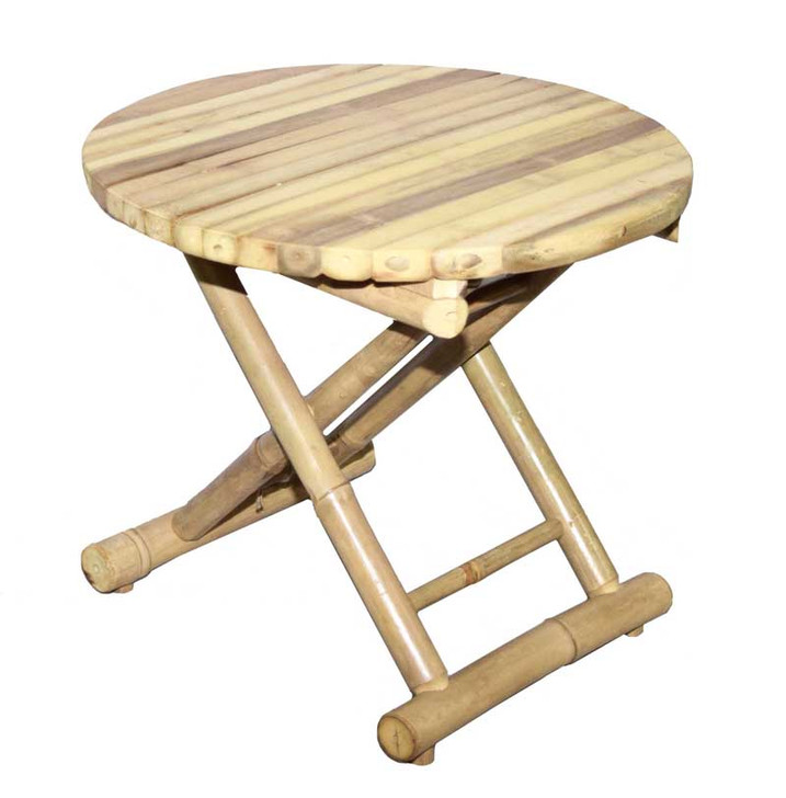 Round Bamboo Folding Side Low Table