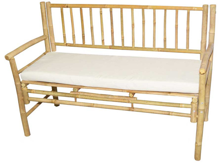 Bamboo Bench with White Cushion