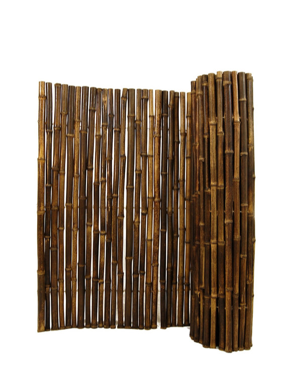 "Natural Black Bamboo Fence 1"" D x 6' H x 8' L"