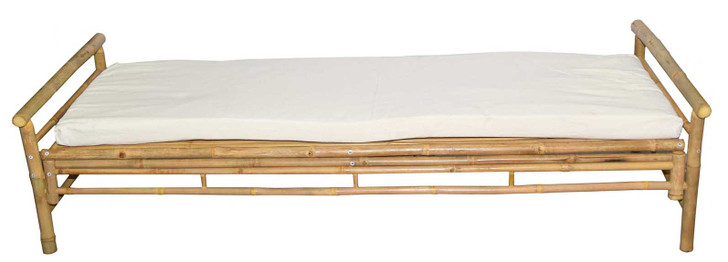 Bamboo Lounger with White Cushion