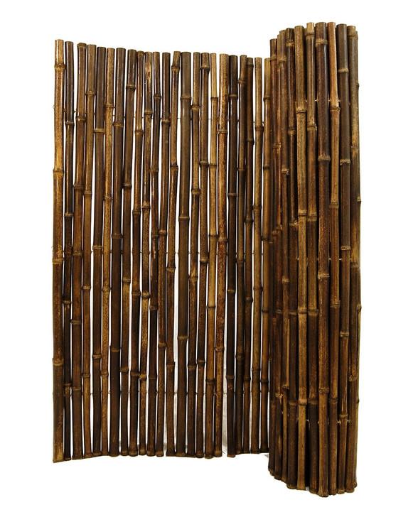 "Natural Black Bamboo Fence 1"" D x 8' H x 8' L"
