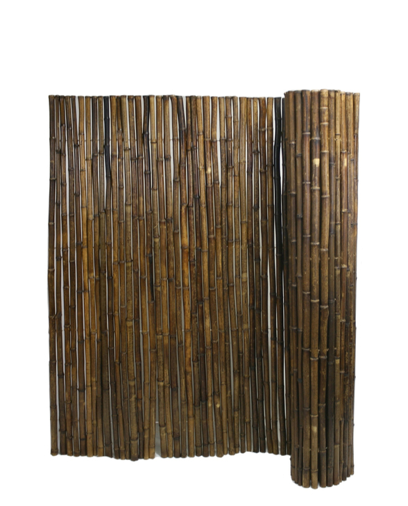 """Caramel Brown Rolled Bamboo Fence 1"""" D X 6' H X 8' L"""