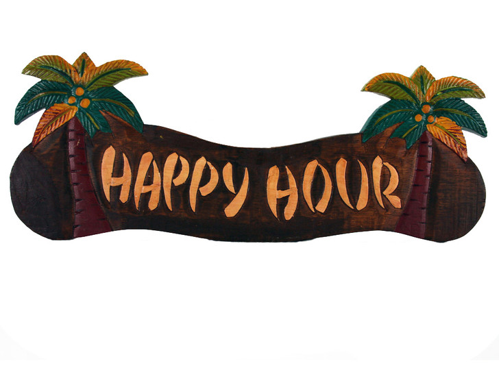Happy Hour Palm Tree Sign