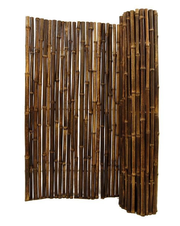 "Natural Black Bamboo Fence 1"" D x 3' H x 8' L"