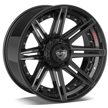 5-lug 4Play 4P08 Wheels Machined Black Custom Truck Rims