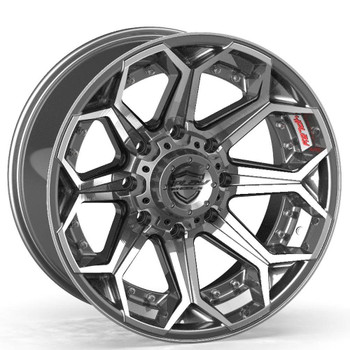8-Lug 4Play 4P80R Wheels Machined Gunmetal Custom Truck Rims