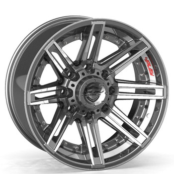 8-Lug 4Play 4P08 Wheels Machined Gunmetal front for Ford trucks