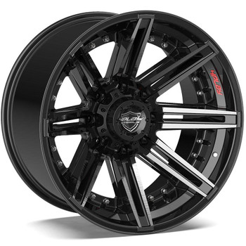 8-Lug 4Play 4P08 Wheels Machined Black Rims Fit GM-Chevy Trucks