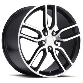 Machined Face Black Chevy Corvette C7 Z51 Replica Wheels Rims FR26