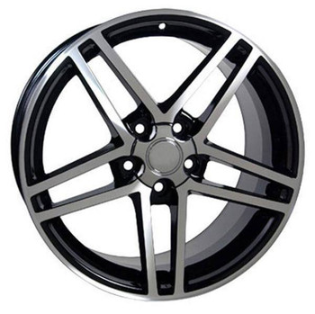 "17"" Chevy Corvette replica wheel 1988-1996 Black Machined rims 5910238"