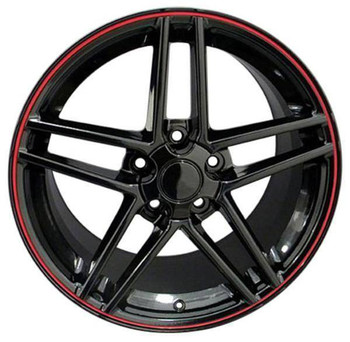"19"" Chevy Corvette  replica wheel 2005-2013 Black Red Band rims 7387762"
