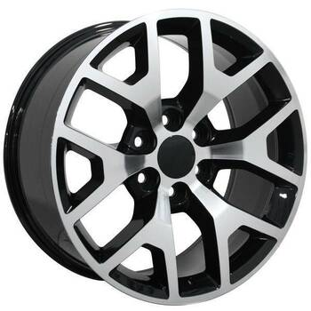 "22"" Chevy C2500 replica wheel 1988-2000 Black Machined rims 9482436"