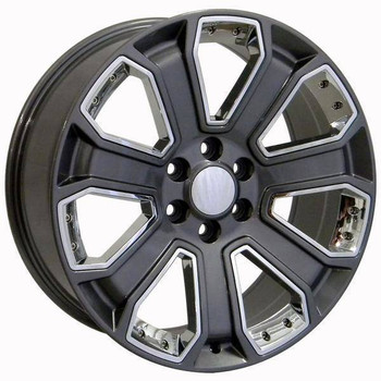 "22"" Chevy C2500 replica wheel 1988-2000 Gunmetal Chrome Inserts rims 9489930"