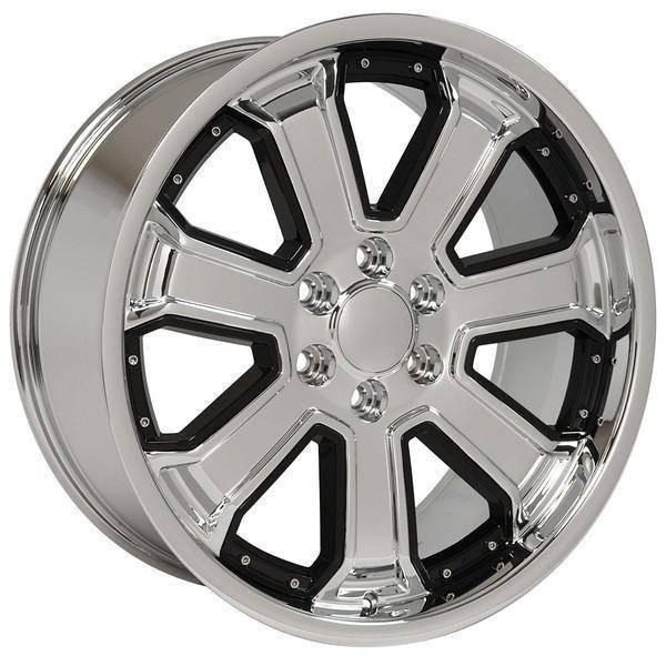 "22"" Chevy Blazer replica wheel 1992-1994 Chrome Black Inserts rims 9506714"