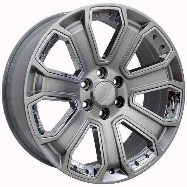 "22"" Chevy C2500 replica wheel 1988-2000 Hyper Black Chrome Inserts rims 9489931"