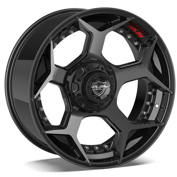6-Lug 4Play 4P50 Wheels Machined Black Custom Truck Rims