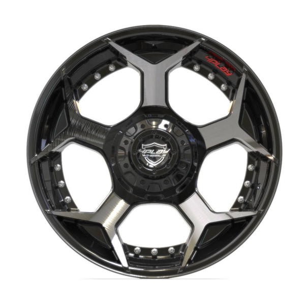 6-Lug 4Play 4P50 Wheels Machined Black front