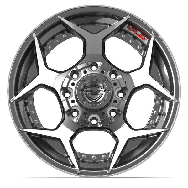 8-Lug 4Play 4P50 Wheels Machined Black Rims Fit GM Trucks front