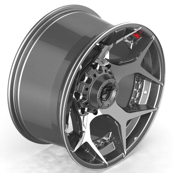 8-Lug 4Play 4P50 Wheels Machined Black Rims Fit GM Trucks