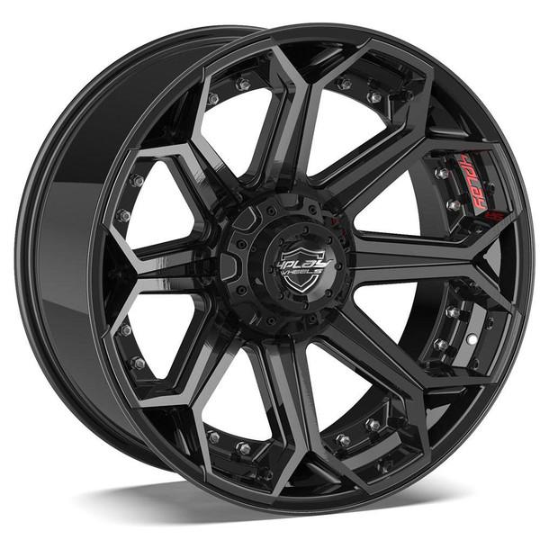 5-lug 4Play 4P80R Wheels Machined Black Custom Truck Rims