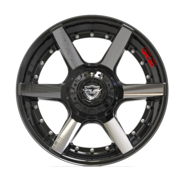 6-Lug 4Play 4P60 Wheels Machined Black front