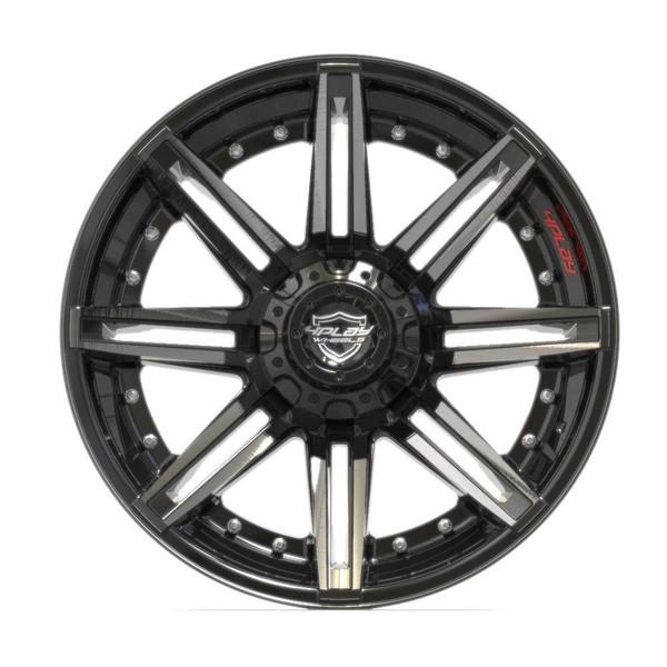 6-Lug 4Play 4P08 Wheels Machined Black front
