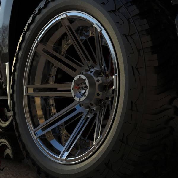 4Play 4P08 Brushed Black truck wheel detail