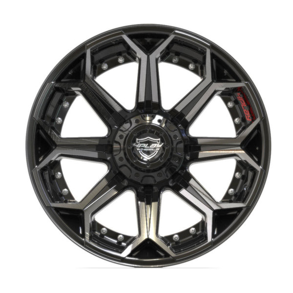 6-Lug 4Play 4P80R Wheels Machined Black front