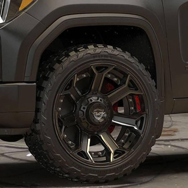 4Play 4P70 Brushed Black truck wheel detail