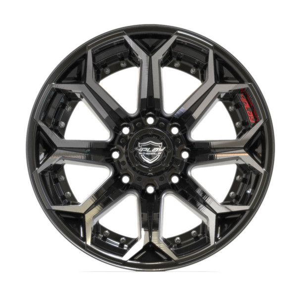 8-Lug 4Play 4P80R Wheels Machined Black  front