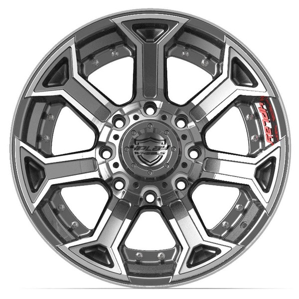 8-Lug 4Play 4P70 Wheels Machined Gunmetal front for Ford trucks