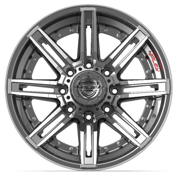 8-Lug 4Play 4P08 Wheels Machined Gunmetal Custom Truck Rims fit Ford