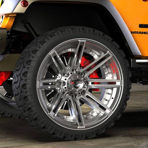 4Play 4P08 Brushed Gunmetal truck wheel detail