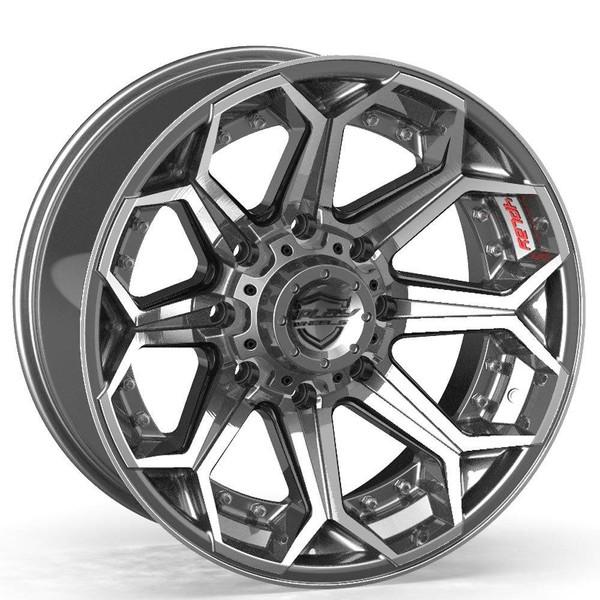 8-Lug 4Play 4P80R Wheels Machined Gunmetal front for Ford trucks