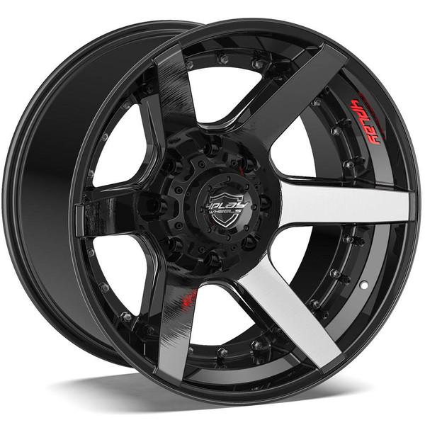 8-Lug 4Play 4P60 Wheels Machined Black Rims Fit GM-Chevy Trucks
