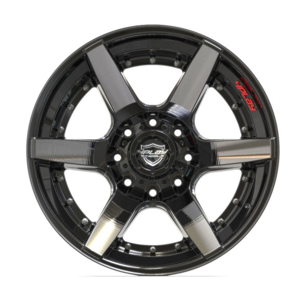 8-Lug 4Play 4P60 Wheels Machined Black Rims Fit GM-Chevy Trucks front